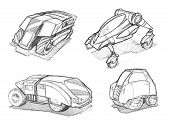 Black And White Pencil Concept Art Drawing Of Set Of Futuristic Or Sci-fi Automotive Concept Art Dra poster