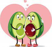 Avocado Family Pregnancy Announcement Funny Vector Design poster