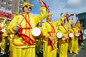 FLUSHING, NY - FEBRUARY 12:  Falun Gong members beat drums as they participate in Chinese New Year c