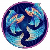 Pisces Zodiac Sign, Astrological, Horoscope Symbol. Futuristic Style Icon. Stylized Graphic Blue Two poster
