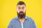 Hipster With Beard And Mustache Emotional Surprised Expression. Rustic Surprised Macho. Surprising N poster