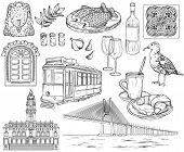 Black And White Portugal Landmarks And Images Sketch. Porto And Lisbon Landmarks. Vector Illustratio poster