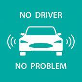 Self-driving Car Icon With Radar Symbols. Vector Design Of Autonomous Smart Car Driving By Artificia poster