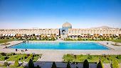 Постер, плакат: Гольпайгани Шейх мечеть на площади Накш i Джахан с большой фонтан Исфахан Исфахан Иран