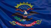 North Dakota  State Flag. Waving Flag Of North Dakota  State, United States Of America. poster