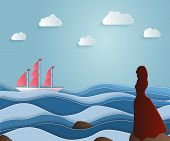 Girl Escorts Sailing Ship On A Long Journey. Scarlet Sails, Asso poster