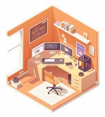 3d Artist Or Cg Artist Home Office Or Studio Workspace. Vector Isometric Room Cross-section With Des poster