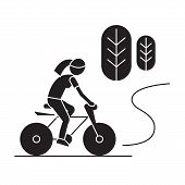 Countryside Bike Ride Black Vector Concept Icon. Countryside Bike Ride Flat Illustration, Sign poster