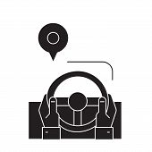 Drive Route Black Vector Concept Icon. Drive Route Flat Illustration, Sign poster