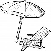 picture of family vacations  - Doodle style beach chair and umbrella in vector format - JPG
