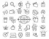 E-commerce Line Icons. Online Shopping And Delivery Elements In Thin Line Style, Web Retail Icon Set poster