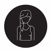 Hair Loss Black Vector Concept Icon. Hair Loss Flat Illustration, Sign poster