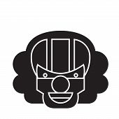 Killer Clown Emoji Black Vector Concept Icon. Killer Clown Emoji Flat Illustration, Sign poster