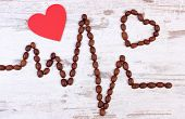 Electrocardiogram Line Of Roasted Coffee Grains And Red Heart, Ecg Heart Rhythm, Medicine And Health poster