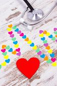 Electrocardiogram Line Of Colorful Paper Hearts And Medical Stethoscope, Ecg Heart Rhythm, Medicine  poster