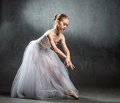 Beautiful Young Ballerina Is Dancing In The Studio On A Dark Background. A Little Dancer. Ballet Dan poster