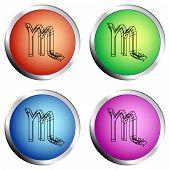 Zodiac Scorpio Icon Colored Circle Push Button Set - Vector Illustration poster