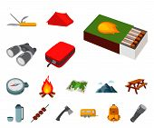 Rest In The Camping Cartoon Icons In Set Collection For Design. Camping And Equipment Vector Symbol  poster