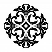 Antique Black Ornaments With White Background, Baroque Ornaments, Scroll Ornaments, Border Carving O poster