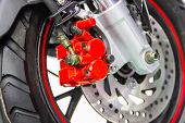 Close Up Motorcycle Disc Brake New Modern Red Of Motorcycle, Is Brake System Part Of The Motorcycle poster