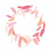 Carnival Pink Flamingo Feathers Vector Background. Plumage Bohemian Fashion Shower Decor. Smooth Plu poster