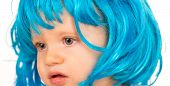 Beauty Look Hairstyle For Cosplay Party. Small Child Wear Blue Wig Hair. Small Kid In Fancy Wig Hair poster