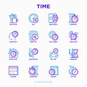 Time Thin Line Icons Set: Coffee Time, Punctuality, Stopwatch, Smart Watch, Hot Time, Sale, Deadline poster