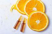 Vitamin C, Natural Anti Aging Cosmetics Ampulas With Oranges poster