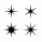 Set Of Sparkles Star, Sparkles Star Isolated Vector. Sparkle Light. Sparkling Stars. Sparkles Black  poster