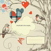 image of wedding invitation  - Love birds talk in the woods vector illustration - JPG