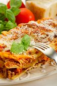 image of italian food  - lasagna on dish - JPG