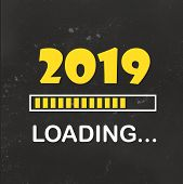 Happy New Year 2019 With Loading Icon Neon Style. Progress Bar Almost Reaching New Years Eve. Illus poster