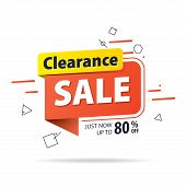 Yellow Orange Tag Clearance Sale 80 Percent Off Promotion Website Banner Heading Design On Graphic W poster