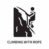 Climbing With Rope Icon Isolated On White Background. Climbing With Rope Icon Simple Sign. Climbing  poster