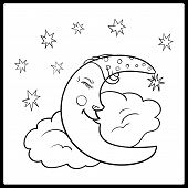 Moon, A Graphical Outline. Moon Sleeping On A Cloud With Stars In The Night Sky. Vector Illustration poster