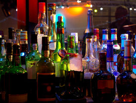 picture of cocktail menu  - Assorted colorful bottles of alcoholic drinks in a night - JPG