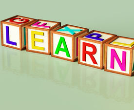stock photo of child development  - Kids Wooden Blocks Spelling Learn As Symbol for Education And School - JPG