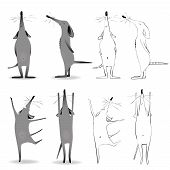 foto of snob  - A vector clipart af a cartoon mouse character in four different poses - JPG
