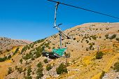 stock photo of golan-heights  - Ski Lift in the Golan Heights in the off Season - JPG