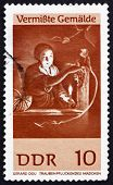 Постер, плакат: Почтовая марка ГДР 1967 девушка сбора винограда по Герард Доу
