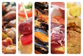 a collage of nine pictures of different spanish tapas and dishes, as escargots, sausage and pepper p