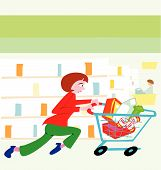 pic of grocery store  - woman running with a shopping cart filled with food in a grocery store - JPG