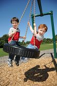 pic of tire swing  - Two brothers have fun swinging on a tire swing at a neighborhood park - JPG