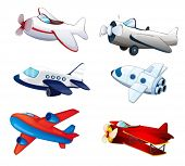 picture of aeroplane  - illustration of various aeroplanes on a white background - JPG