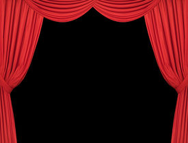 pic of curtains stage  - Large red theatre curtains on a black background - JPG