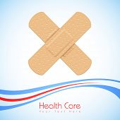 illustration of medical bandage forming cross on abstract background