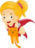 Illustration of a Little Kid Girl Superhero Rescue an Orange Cat
