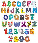 image of goblin  - English alphabet and numbers with funny monsters - JPG