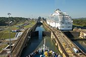 PANAMA CANAL, MARCH 22: Cruise Ship Passing through the Lock of Panama Canal on March 22, 2013