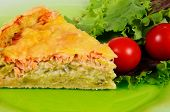 Smoked salmon and leek tart.